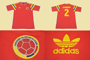 colombia 1990 jersey worldcup away red colombia roja escobar playera camiseta