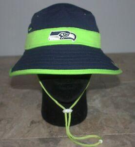 Seattle Seahawks New Era NFL Training Camp Sideline Bucket Hat - Navy/Lime