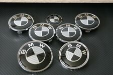 BMW Carbon Fibre Badge Set Alloy Wheels 82mm & 74mm 1 3 4 5 7 Series