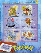 Guyana 2000 MNH Water Pokemon Season's Greetings 6v M/S Magikarp Goldeen Stamps