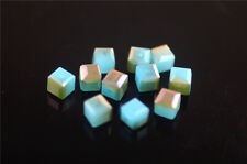 50pcs Half Jade Lt Blue Wine Red Glass Faceted Cube Beads 6mm Spacer Crafts