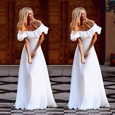 Women's Maxi Boho Floral Summer Beach Long Skirt Evening Cocktail Party Dresses White M
