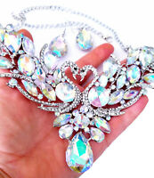 Rhinestone Statement Necklace Earring Set Svan AB Iridescent