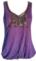 H&M Women's Top Tunic Purple Size S UK 8 10 12 Beaded Bow VGC
