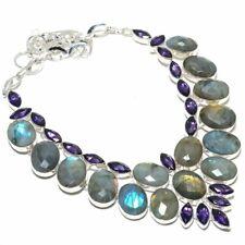 "Labradorite, Amethyst Gemstone Handmade 925 Sterling Silver Jewelry Necklace 18"""