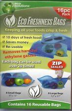 Eco Freshness Bags, Keeps food fresh, Reusable, Fruit, Veggies, Bread, Meat,