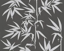 Contemporary Silver Bamboo on Black Textured Wallpaper 2936-40