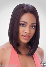 ALICIA | BLACK BROWN | MEDIUM STRAIGHT SYNTHETIC LACE FRONT WIG | SENSATIONNEL