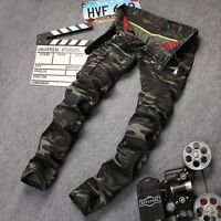 Mens Camo Punk Slim Pockets Motorcycle Biker Trousers Casual Ruffle Skinny Pants