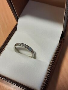 Diamond Platinum Ring With Partial Diamond Fitted Rings Wedding Band Size J Love