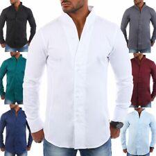 Carisma Herren Uni Stehkragenhemd slimfit einfarbig körperbetonte Passform H-902