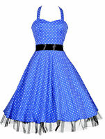 Ladies 1950's Vintage Style Blue Polka Dot H/Neck Jive Swing Prom Dress New 8-26