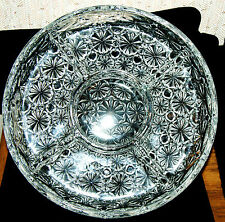 """Vintage 10"""" Glass Daisy Pattern 5 Way Divided Dish"""
