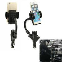 Universal Smart Phone Dual USB Car Cigarette Lighter Stand Holder Mount Charger