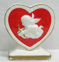 Vtg Valentine Planter Red Heart Embossed White Cupid Fine A Quality Japan 1960s