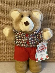 Wendys Hamburgers Furskins New 1986 Original Clothed Checked Top Teddy Bear