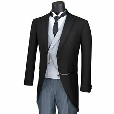 VINCI Men's Black 3 Piece Modern Fit Morning Tailcoat Suit w/ Striped Pants NEW