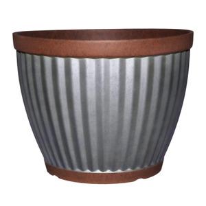 """Galvanized Resin Planter w/ Copper Rim, Indoor/Outdoor 16"""" round"""