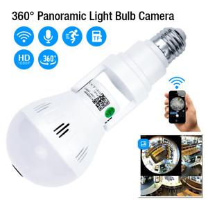 360° Panoramic IP Security Camera Light Bulb HD Fisheye 1080P Wifi Hidden Camera