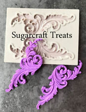 Vintage Floral Flower Leaf Scroll Silicone Mould Cup Cake Toppers Sugarcraft