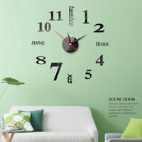 Modern DIY 3D Number Wall Clock Mirror Sticker Chic Decor Home Office Kids Room