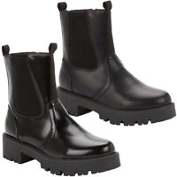 Ladies High Ankle Chelsea Boots Womens Chunky Platform Goth Mid Calf Shoes Size