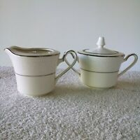 "Noritake Ivory China ""N"" Series Sorrento 7565 Sugar w/ Lid and Creamer Set"