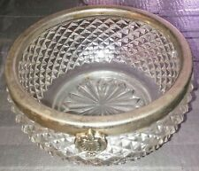 English Pointed Hobnail Bowl with Silverplate Rim
