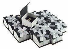 LOT OF 20 RING BOX MAGNETIC RIBBON RING BOX SHOWCASE BOX BLACK JEWELRY GIFT BOX