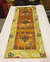 Tibetan Buddhist endless knot silk brocade table runner/shrine cover/altar cloth