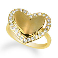 Ladies 10K Yellow Gold Solid Heart-Shaped Stylish Ring w/ CZ Size 4-10