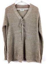 Womens Ladies Sweater Sand Colour Top V-neck Papaya Size L Uk
