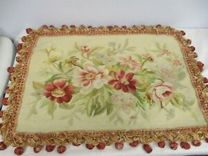 VTG HAND STITCHED WOOL NEEDLEPOINT PILLOW COVER w FLOWERS & TASSEL EDGE 20x28