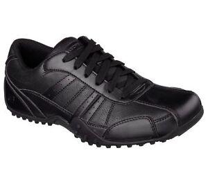 77038 Skechers Men's Work Shoes ELSTON Slip Resistant Relaxed Fit Black BLK A3