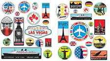 36 Retro Vintage old fashioned style luggage suitcase travel stickers stick on