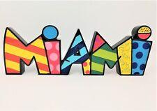 "ROMERO BRITTO 'MIAMI', 2014 Figurine / Word Sculpture Pop Art 11"" x 4"" x 1"" NIB!"