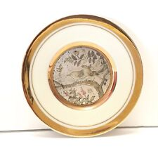 The Art of Chokin Two Birds on a Branch Plate Made in Japan 24K Gold