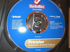 Turbo Tax Premier 2007 Fed/ State Investments&Rental Property Intuit MAC&Windows
