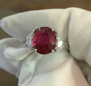 JB Star Platinum 2.5 carat Ruby and Diamond ring , size 6, New, Outstanding!