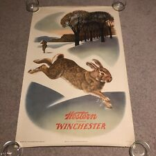 "RARE Original 1955 Winchester Rabbit Hunting 28"" x 40"" Advertising Poster"