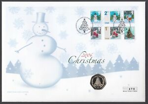 UK 2006 FDC Christmas Coin Cover, with Rare GIBRALTAR 50p, Mercury Cover