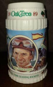 1989 Oak Tree Stein Limited Edition Horse Racing Beer Mug Jockey Bill Shoemaker