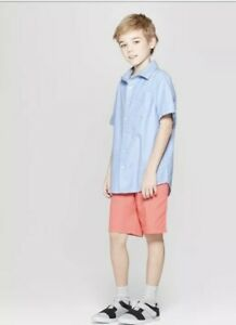 Cat and Jack Blue  Flat Front Shorts Size 12 Boys NEW Adjustable Waist Peach