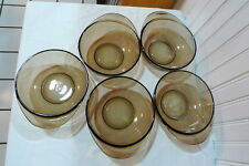 PYREX England Visions Amber Brown Fireside Handled Bowls Set of 5