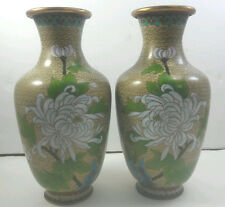 Vintage 2 Cloisonne Vases Dijon mustard Color W Floral Design And Birds Gold Rim