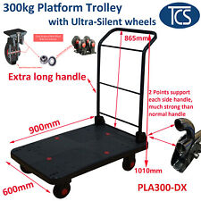 TCS New 300kg Industrial Platform Trolley Extra Long Handle Silent Rubber Wheels