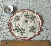 "Antique Silk Society Work Hand Embroidered Strawberries On Linen Doily~9""Round"