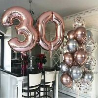 """40"""" Giant Rose Foil Number Balloons letter Air Helium Birthday Age Party Wedding"""