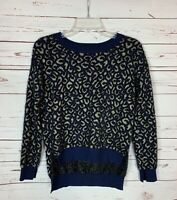 Zara Knit Womens S Small Navy Blue Gold Fuzzy Soft Cozy Cute Fall Winter Sweater