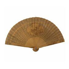 Chinese Vintage Wooden Bamboo Folding Hand Fan Riverside House & Flower Pattern